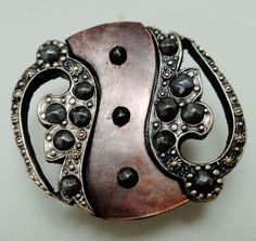ANTIQUE BUTTON SMOKEY PEARL SHELL WAVE IN OPENWORK METAL SETTING w CUT STEELS