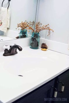 DIY Painted Bathroom Sink and Countertop Tutorial - I'm Flying South featured on Counter Top Sink Bathroom, Bathroom Sink Design, Bathroom Spa, Small Bathroom, Bathroom Ideas, Shower Ideas, Washroom, Counter Tops, Bathroom Organization
