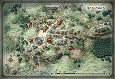 """An RPG town map created for the Dungeons & Dragons adventure """"Lost Mine of Phandelver""""."""