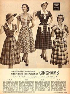 Sears 1953 catalog, checkered day dresses via Tuppence Ha'Penny