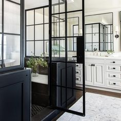 Home Decor Recibidor Black steel shower stall makes for a bold and stunning design statement in a transitional master bathroom features honed marble tiles. Modern Master Bathroom, Classic Bathroom, Transitional Bathroom, Bathroom Black, Master Shower, Bathroom Inspo, Bathroom Layout, Bathroom Styling, Bathroom Ideas