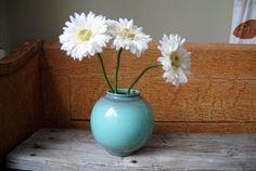 Vintage Round Turquoise Ceramic Vase: Mid Century by Untried