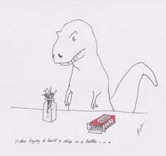 """From artist Hugh Murphy and his """"T-Rex trying..."""" series. Just hilarious!"""