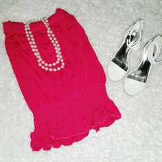 Bebe Hot Pink sleeveless Top Perfect for summer. Elastic on top and at waist bebe Tops