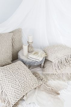 Kalyan & Indrani Macrame Cushions and Lalita Feather Crown losari.com.au #losarihome #losarihomeandwoman #losari #soulmoment #whitehome #whiteonwhite #texture #interiordesign #styling #home #boho #bohohome #tribalhome #tribal #homesweethome #soulmoment #onlineshopping #handmade #ourpeople #treasures #macrame #floorcushions #macramecushions #comfort
