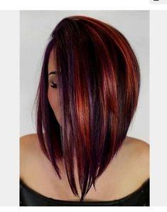 Violette Highlights, Classic Haircut, Bob Haircut With Bangs, Wedge Haircut, Haircut Short, Red Bangs, A Line Haircut, Long Brunette, Brunette Haircut