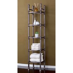 Bathroom-Storage-Tower-Metal-Glass-Furniture-Toilet-Organizer-Rack-5-Tier-Shelf