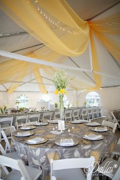 Yellow and Grey Wedding. Organza on the ceiling is a done deal. Loving the patterned linens too. -Ashleigh