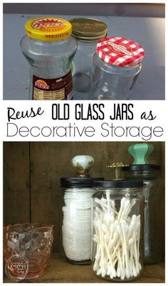 Great way to reuse old glass jars as decorative storage. storage Reuse Old Glass Jars for Bathroom Organization - Refresh Living Bathroom Organization, Organization Hacks, Bathroom Ideas, Small Bathroom, Bathroom Hacks, Mason Jar Bathroom, Organizing Life, Bathroom Pictures, Glass Bathroom