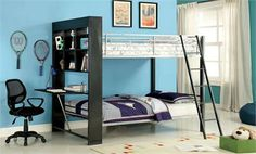 Shop for Furniture of America Buddy Twin-over-twin Bunk Bed with Attached Bookshelf. Get free delivery On EVERYTHING* Overstock - Your Online Furniture Outlet Store! Double Bunk Beds, Metal Bunk Beds, Twin Bunk Beds, Kids Bunk Beds, Loft Beds, Twin Twin, Bunk Bed With Desk, Trundle Bed With Storage, Desk Storage