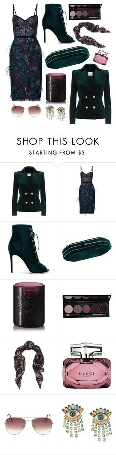"""""""Notte"""" by cherieaustin ❤ liked on Polyvore featuring Pierre Balmain, Notte by Marchesa, Gianvito Rossi, Aedes De Venustas, Alexander McQueen, Gucci and Betsey Johnson"""