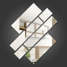 Espelho Decorativo Retângulos Personalizáveis Wall Design, House Design, Mirror Crafts, Wall Decor, Room Decor, Indian Home Decor, Living Room Modern, Home Decor Accessories, Home Art