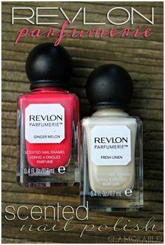 Revlon Parfumerie Scented Nail Polish Ginger Melon, Fresh Linen Swatches, Review   via @glamorable #bbloggers #beauty #nails #nailpolish #manicure #revlon #parfumerie #scentedpolish #coral #bridal #ivory