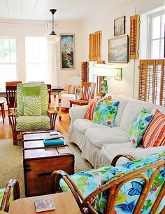 Beach Cottage Style House Tour - Thistlewood Farm the colors and fabrics in this room are fabulous. Also that rattan chairs! Cottage Style Homes, Beach Cottage Style, Beach Cottage Decor, Coastal Cottage, Cottage Living, Cozy Cottage, Coastal Style, Coastal Living, Beach Cottages