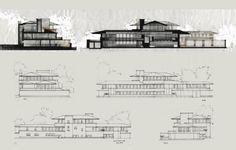 Coupes + Elevations Robie House - Frank Lloyd Wright – Chicago IL USA 1906-1909 // Tan-Izambert-VillardVuitton Analyse par : Senwen TAN + Cécile IZAMBERT + Roxanne VILLARD-VUITTON