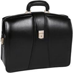 HARRISON | 17 Leather Partners Laptop Briefcase - Black