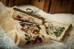Vintage Handmade Needlepoint / Velvet Bell Pull