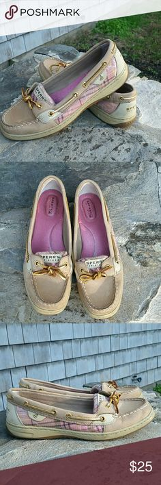 Womens Sperry Top-Sider Angelfish Pink Plaid Sequi Excellent condition pick sequin plaid sides, soft pebble brown color. MInor wear on top shown in pick #2.  So pretty and preppy Sperry Top-Sider Shoes Flats & Loafers