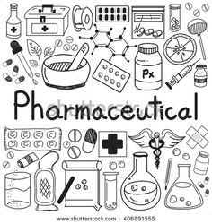 pharmaceutical and pharmacist doodle handwriting icons of medicines tools sign and symbol in white isolated paper background for health presentation or subject title. vector