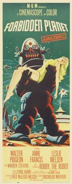 Forbidden Planet was the first science fiction film to depict humans traveling in a faster-than-light starship. Classic vintage movie poster Three different sizes to choose from: Medium size: x x Large size: x x Extra Large size: x x Classic Sci Fi Movies, Classic Movie Posters, Movie Poster Art, Print Poster, Old Movies, Vintage Movies, Vintage Posters, Retro Vintage, Horror Movie Posters