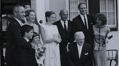 The marriage of Peter Viertel (first from the left) to Deborah Kerr in Klosters, 1960. Also in the picture: Actor Jul Brynner (centre) and Marianne Shaw (wife of Irwin Shaw, far right).
