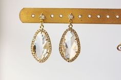 Crystal Glass Teardrop Titanium Earrings Gold by KaoriKaori