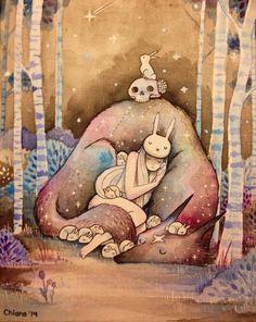 By Chiara Bautista Bunny girl and star wolf Wolf Illustration, Fantasy Kunst, Fantasy Art, Chiara Bautista, Animation, Art Design, Amazing Art, Illustrators, Cool Art