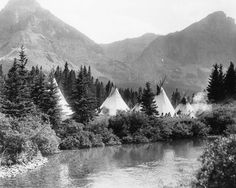 1900 Camping | Up the Cut Bank. Piegan camp in Montana. Early 1900s. Photo by Roland ...
