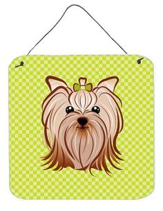 Checkerboard Lime Green Yorkie Yorkshire Terrier Wall or Door Hanging Prints BB1266DS66