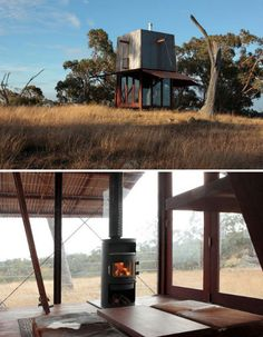 Casey Brown's tiny minimalist home is equal parts rustic and modern, with its reclaimed ironbark exterior and two shade eaves that drop down to protect the little relaxation retreat when it's not in use. Located in a remote part of the Australian outback, the 'Mudgee' house measures three square meters. It was built offsite and transported to its current location.