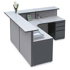 Pewter Haze Large Reception L-Desk, Modern Reception Desk, Reception Furniture, Reception Desk Design, Office Reception, Reception Counter, Office Counter Design, Office Table Design, Clinic Interior Design, Office Interiors