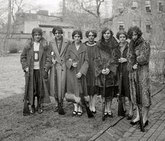 These gals are the Formal Ladies Shooting Club of Portsmouth (circa 1929). They weren't allowed bullets though. Men were too frightened of what they might shoot if they had bullets.