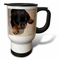 3dRose Dog Rottweiler Puppy, Travel Mug, 14oz, Stainless Steel