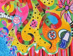 Original Abstract Modern Bright Red Painting,Flowers,Patterns,Red Octopus Art #Abstract