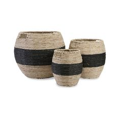 Set the scene and store your belongings, too, with these handsome corn husk baskets. With three sizes in the set, they're an easy way to add dramatic-looking storage to a room, or to create continuity ...  Find the Black Stripe Baskets - Set of 3, as seen in the Glamping in the Tropics Collection at http://dotandbo.com/collections/glamping-in-the-tropics?utm_source=pinterest&utm_medium=organic&db_sku=92578
