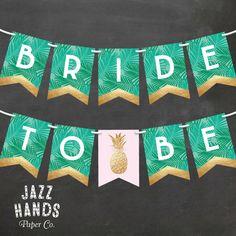 Tropical Bridal Shower Banner DIY Printable by JazzHandsPaperCo More