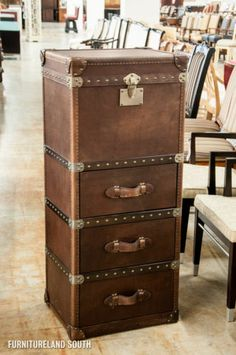 CURATIONS LIMITED - TALL VINTAGE BROWN LEATHER ACCENT CHEST / TRUNK