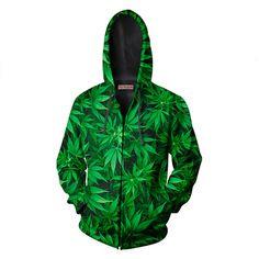 Weed Plant Zip Up Hoodie #weed #cannabis #hoodie #yoprnt