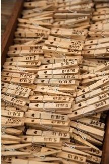 Clothes pin with date stamped. http://greenweddingshoes.com/colorful-parker-palm-springs-wedding-daniella-ross/