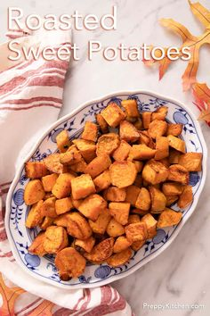 These easy roasted sweet potatoes from Preppy Kitchen are crisp on the outside, soft inside and completely delicious! You'll love the salty sweet play of flavors in this perfect side dish that goes with everything. #sweetpotatoes #roastedsweetpotatoes #bestsweetpotatoes
