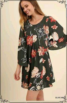 b41fb107ce777 Umgee Long Sleeve Floral Print Boho Swing Dress Tunic Plus XL 1X 2X Plus  Size