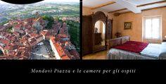 Vista di Mondovì e camera matrimoniale albergo dell'Academia