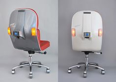 The sleek build of Vespa scooters have been redesigned to remain stationary, dissected and rebuilt as office furniture. Fit for an Italian motorist, the Scooter Chair, is handmade by Spanish studio Bel & Bel in a numbered series with a large variety of color combinations to choose for your o