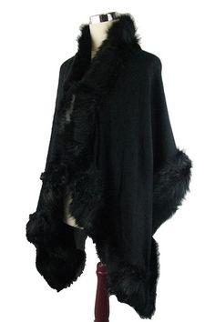 08215171b Black Fur Trim Shawl Wrap Cape. Free shipping and guaranteed authenticity  on Black Fur Trim. Tradesy