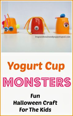 Yogurt Cup Monsters- Fun Halloween Craft/Art For Kids by FSPDT This is great for kids to let their own creativity show in each monster they make and a lot of fun. Holiday Crafts For Kids, Theme Halloween, Halloween Crafts For Kids, Diy For Kids, Fun Crafts, Arts And Crafts, Alien Crafts, Preschool Art, Craft Activities For Kids