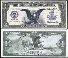 BANKNOTE OF HOT AIR BALLONS! A BEAUTIFUL  $1,000,000 NOVELTY U.S