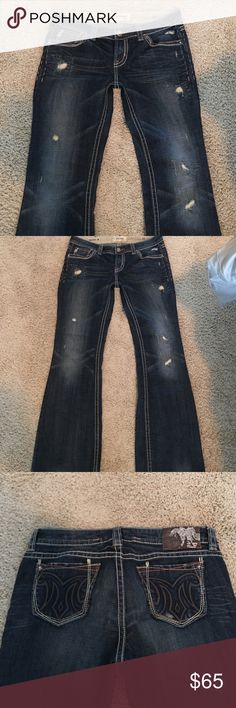 NWOT Mek Frisco bootcut Jean These jeans are amazing.   They are a size 30 but would fit a typical size 31 as well.  They do have stretch and the Jean material is very soft.    Exclusively sold for Buckle.   30/32 but original hemmed to an inseam of 30 1/2.   Waist measurement 17'.   Price is firm.  I am not taking offers on these.  Paid retail $169 MEK Jeans Boot Cut