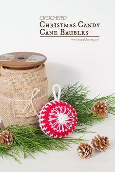 Hopeful Honey | Craft, Crochet, Create: Candy Cane Christmas Bauble - Free Crochet Pattern...