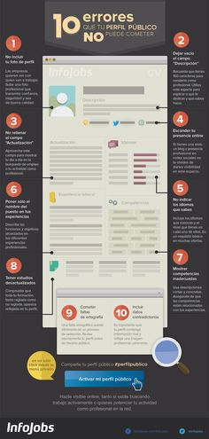 10 errores que tu perfil público NO puede cometer Vía: @InfoJobs #infografia #infographic #empleo