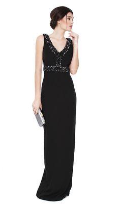 Vestido Preto com Brilhantes - Aluguer de vestidos Raoul - Frente
